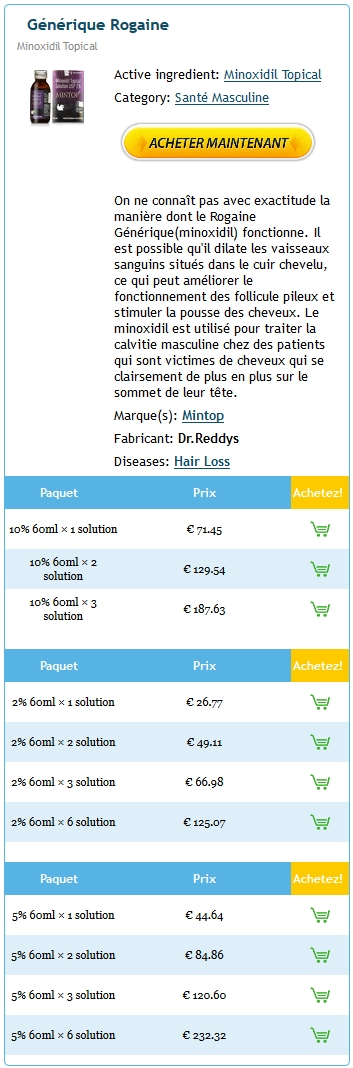 Acheter Du Rogaine 2% 60 ml En France