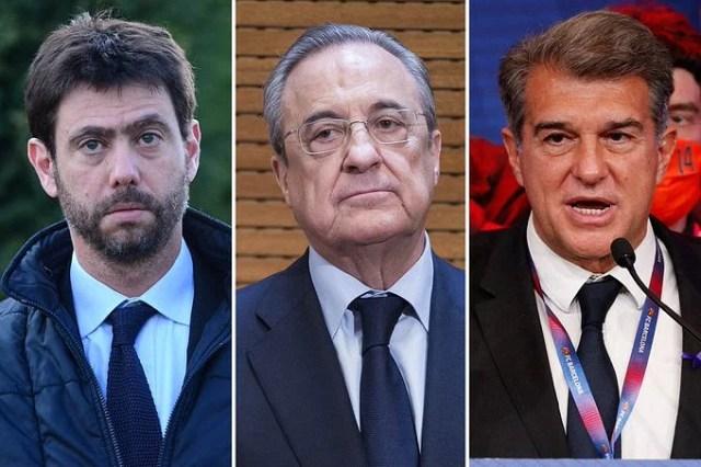 Juventus chairman Andrea Anelli (left), Real Madrid president Florentino Perez (center) and Barcelona president Juan Laporta