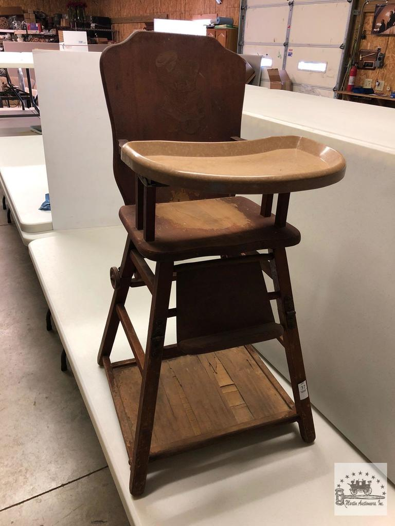 vintage wooden high chair zero gravity lawn canada lot sears roebuck co proxibid auctions