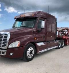 2013 freightliner cascadia cotrell car hauler sleeper truck and trailer [ 1024 x 768 Pixel ]