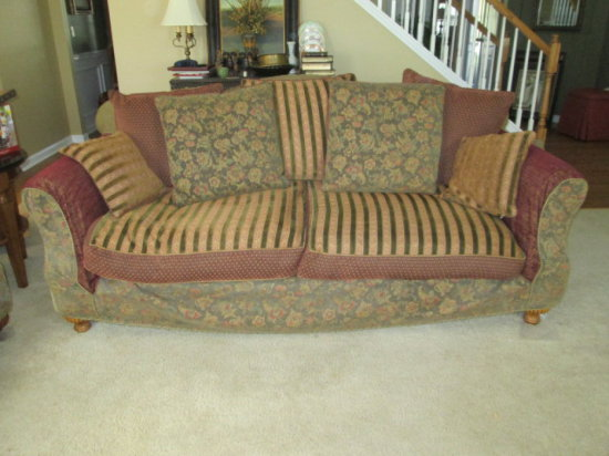 j m paquet sofa two seater jm custom upholstered f auctions online proxibid furniture with slipcover and down cushions pillows