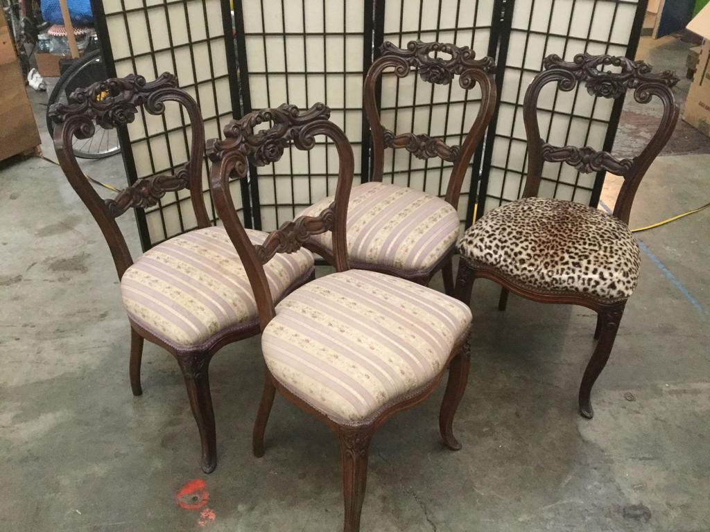 Antique Parlor Chairs Lot Set Of 4 Heavily Carved Antique Rose Motif Kitchen Or Parlor