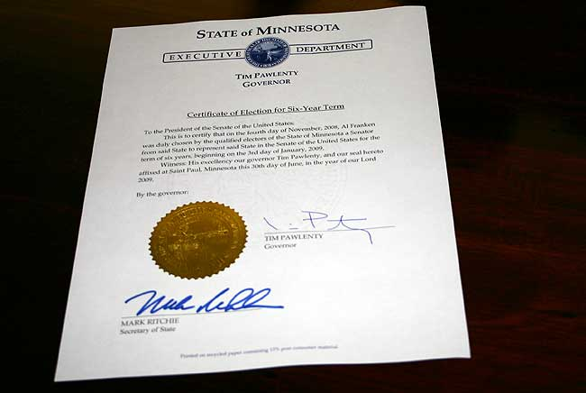 Election certificate signed  Capitol View  Minnesota