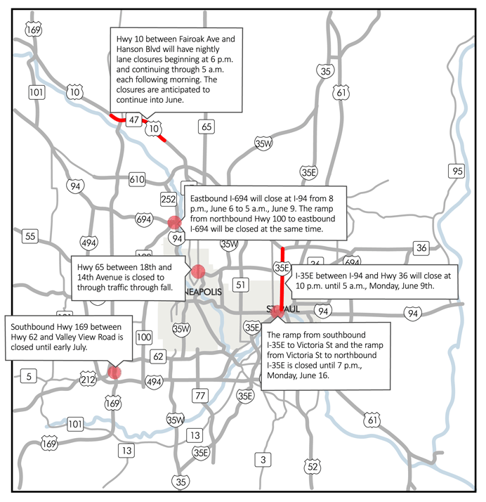 I-35E, I-694 to close this weekend for road work