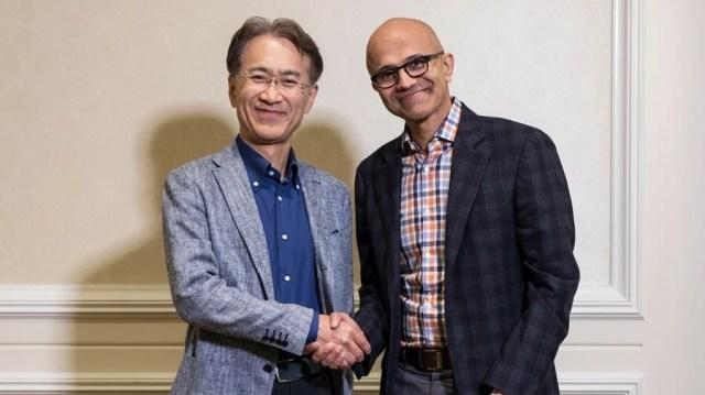 Sony president and CEO Kenichiro Yoshida (left) and Microsoft CEO Satya Nadella (right)