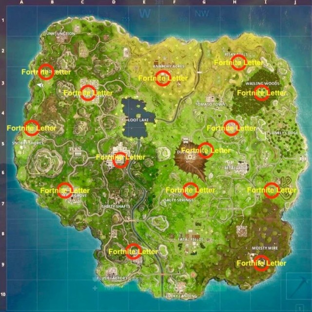 Fortnite Letters Locations - Where to Search the F-O-R-T-N-I-T-E Letters 2