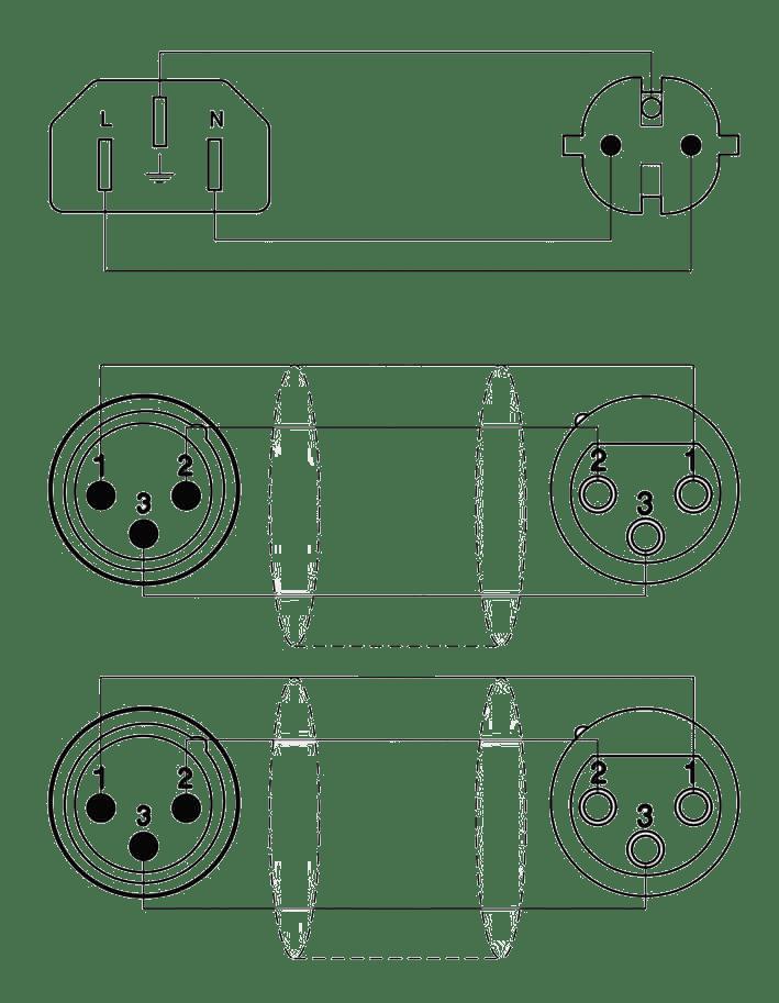 medium resolution of wiring diagram cab405 schuko power male 2 x xlr female euro power female
