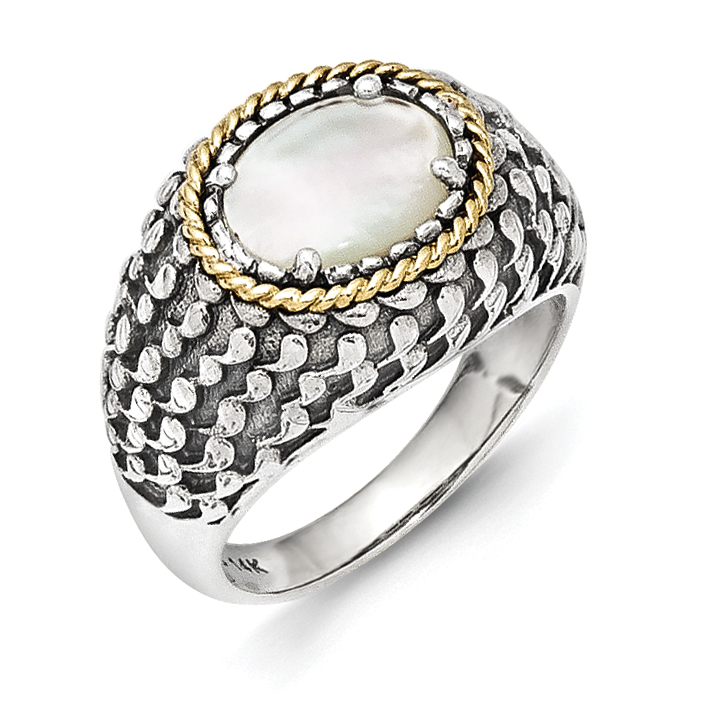 Sterling Silver With14k Gold Antiqued Mother Of Pearl Ring