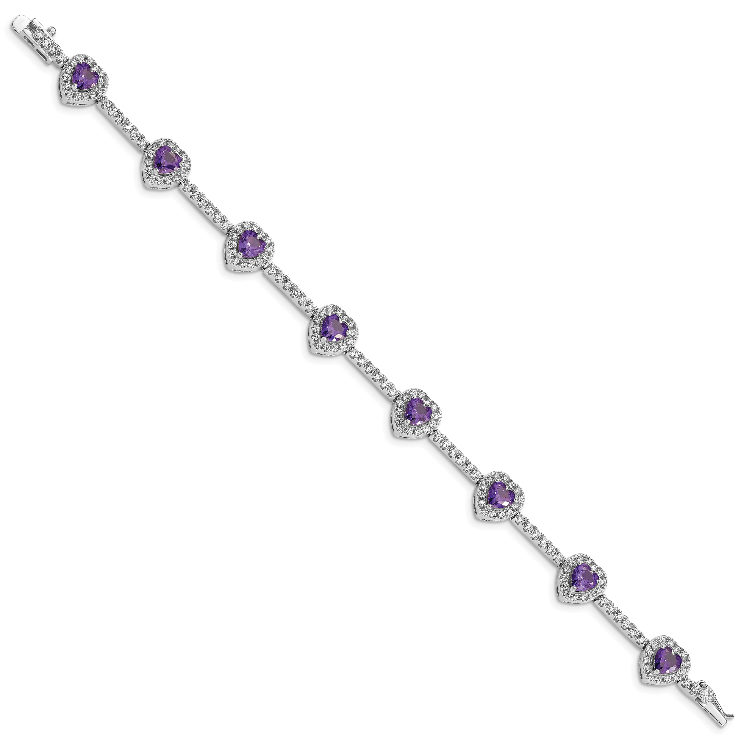 Sterling Silver Rhodium-plated Amethyst and Clear CZ Heart