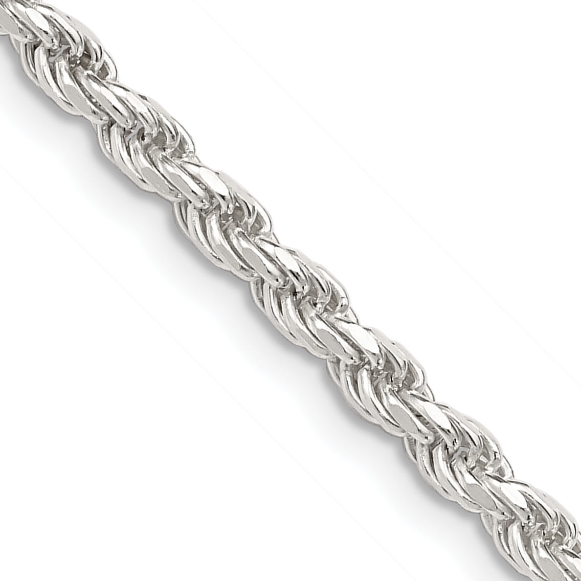 925 Sterling Silver 3mm Link Rope Necklace Chain Pendant