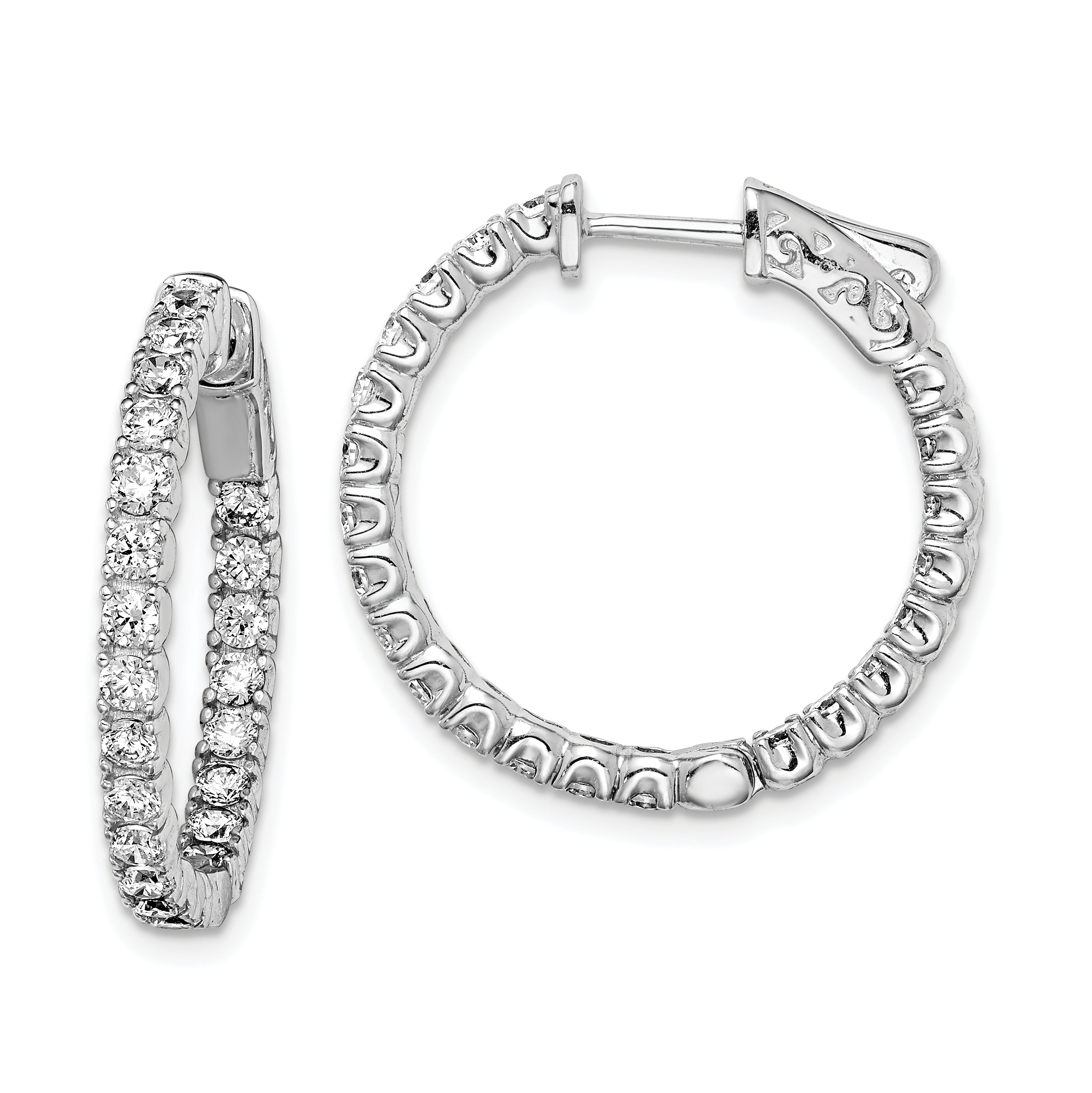 925 Sterling Silver Cubic Zirconia Cz In Out Hinged Hoop