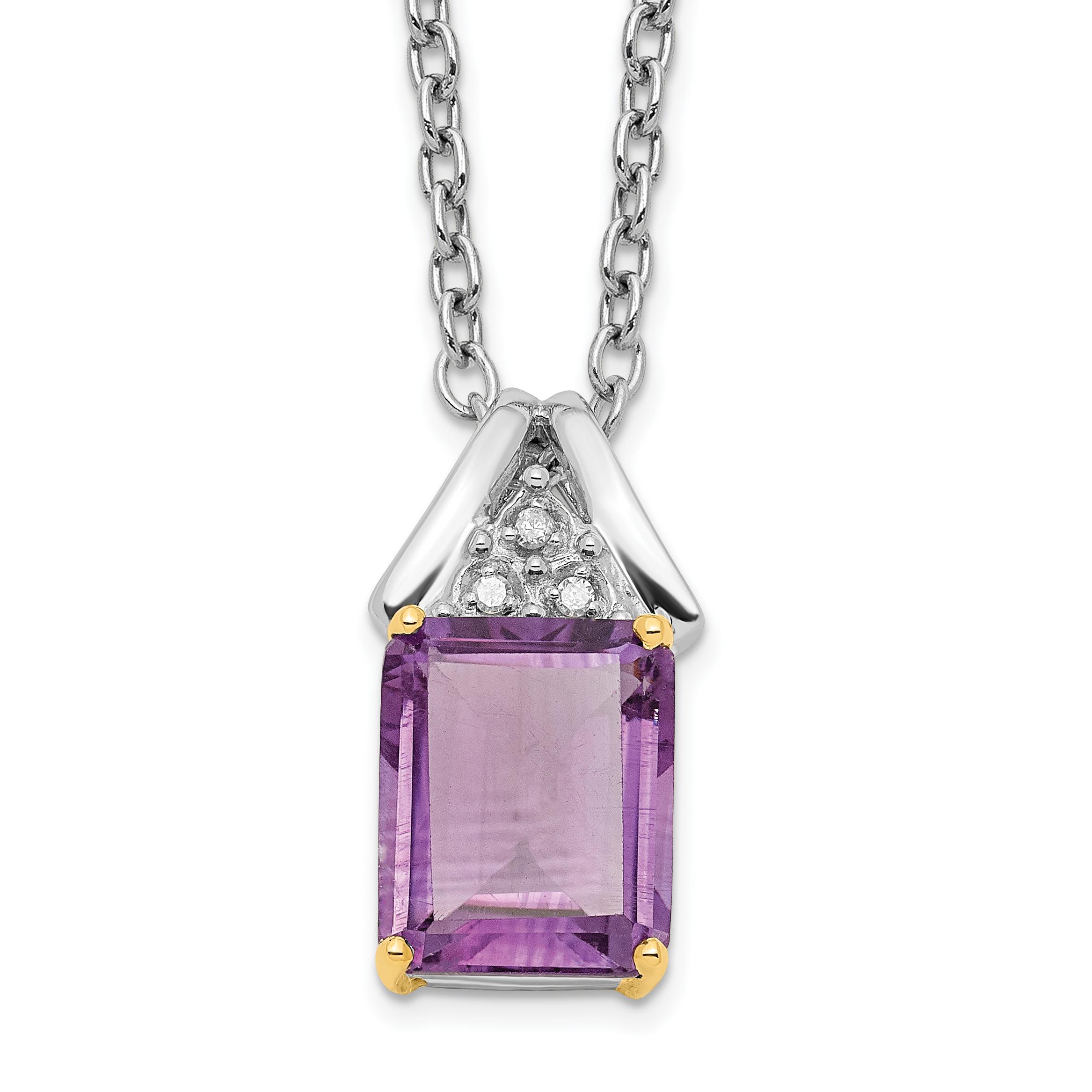 925 Sterling Silver 14k Purple Amethyst Diamond Chain