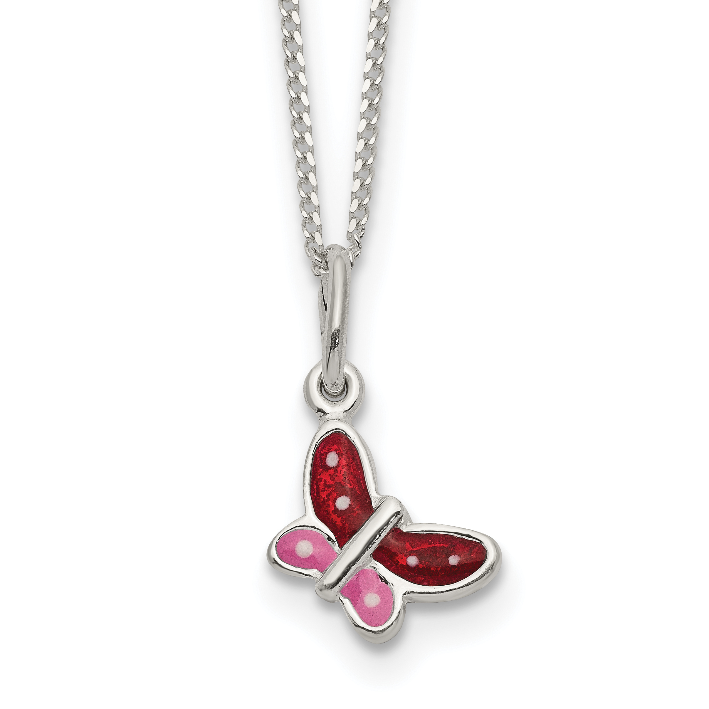 925 Sterling Silver Enameled Butterfly Chain Necklace