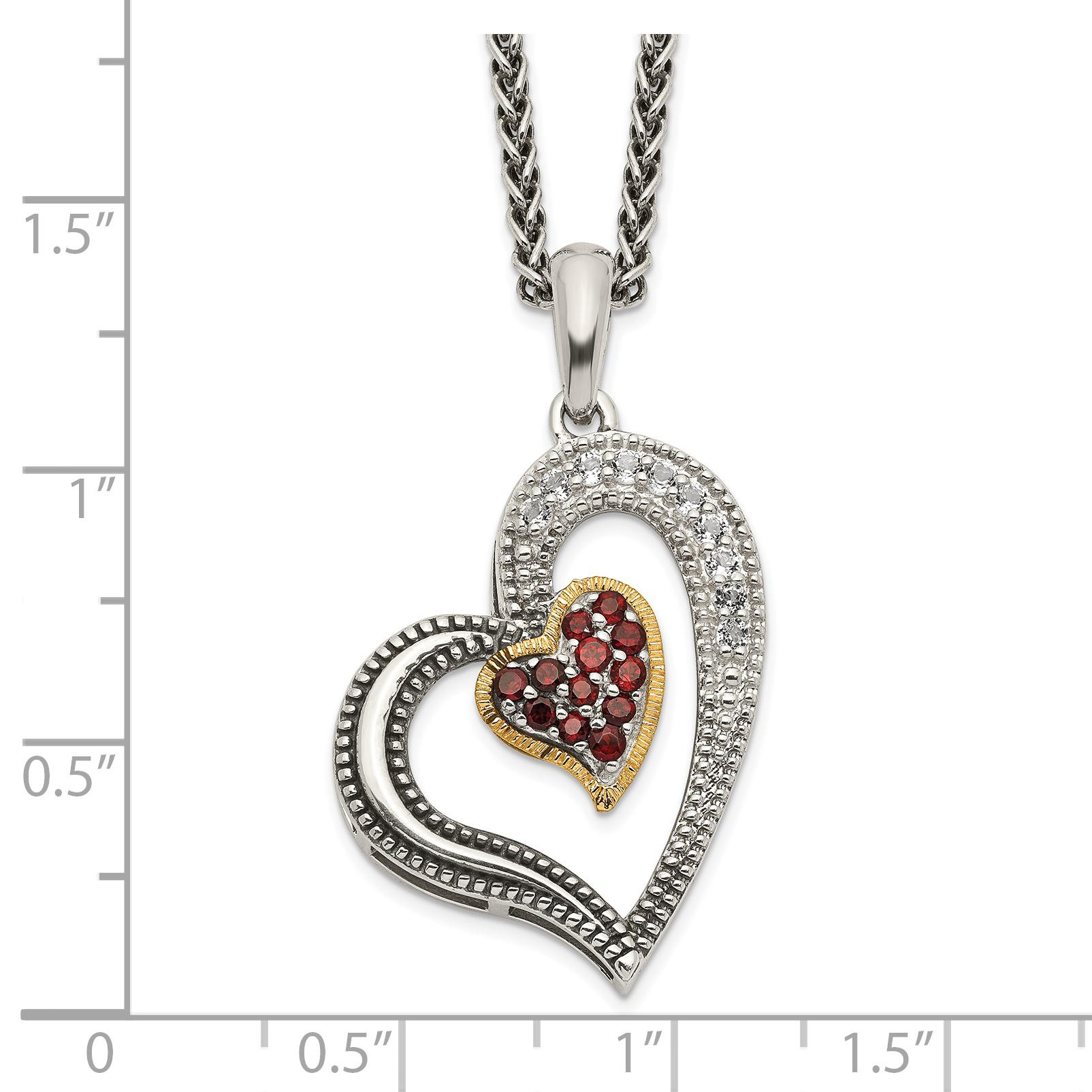 925 Sterling Silver 14k Red Garnet White Topaz Heart Chain