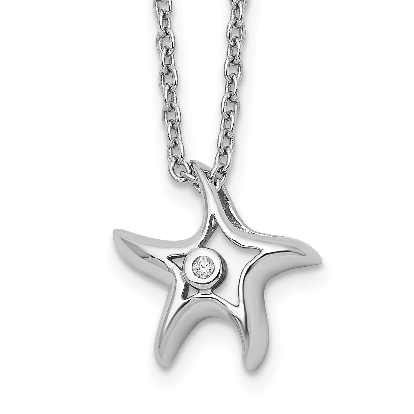925 Sterling Silver Diamond Starfish Slide Pendant Chain