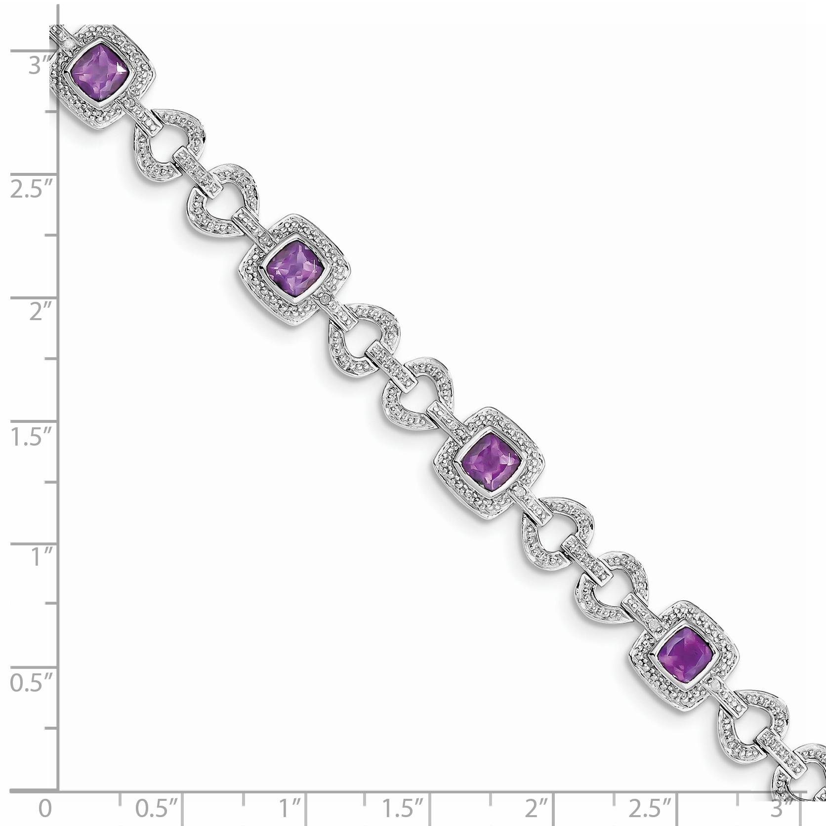 925 Sterling Silver Diamond Purple Amethyst Bracelet 7