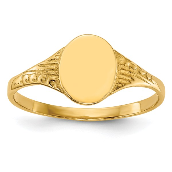 14k Yellow Gold Oval Child Signet Band Ring Size 5.25 Baby Fine Jewelry Women