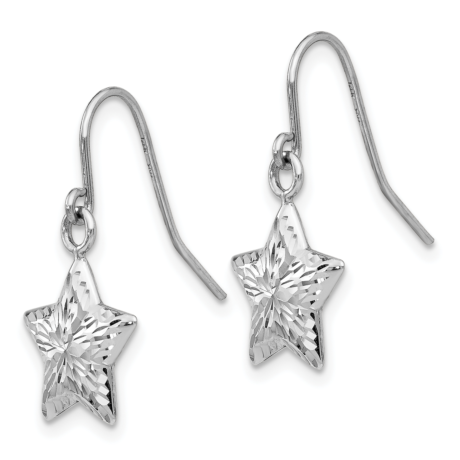 14k White Gold 3 D Star Drop Dangle Chandelier Earrings
