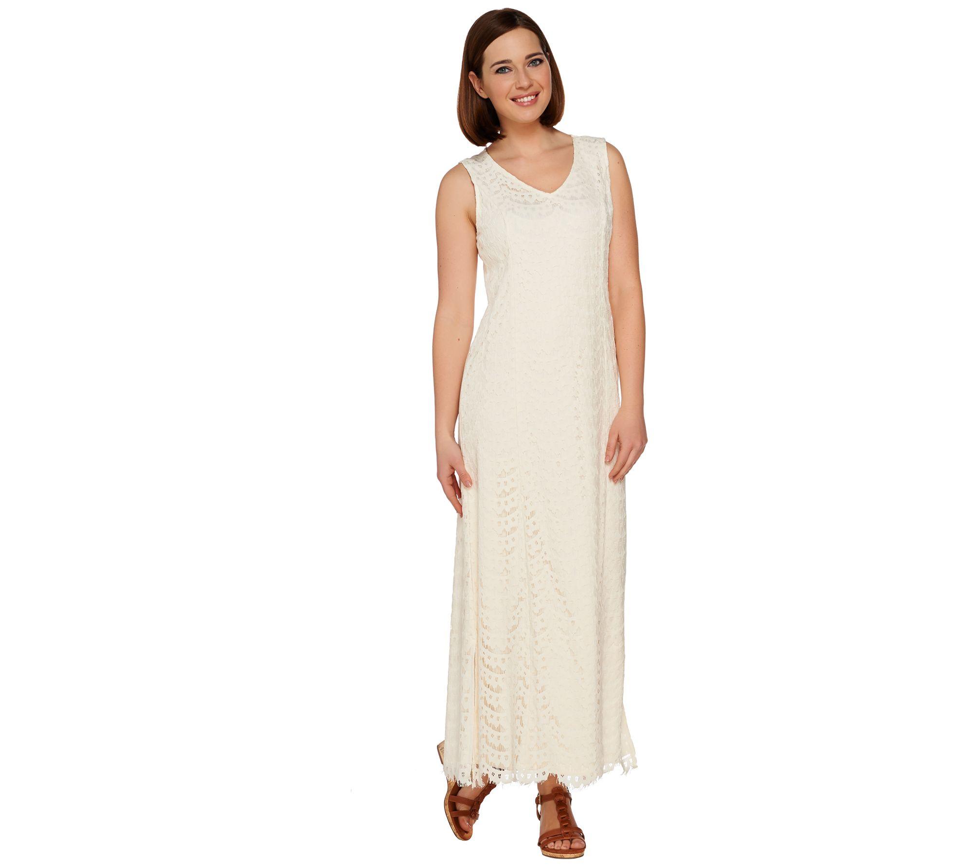 Isaac Mizrahi Live Lace Maxi Dress With Scallop Hem
