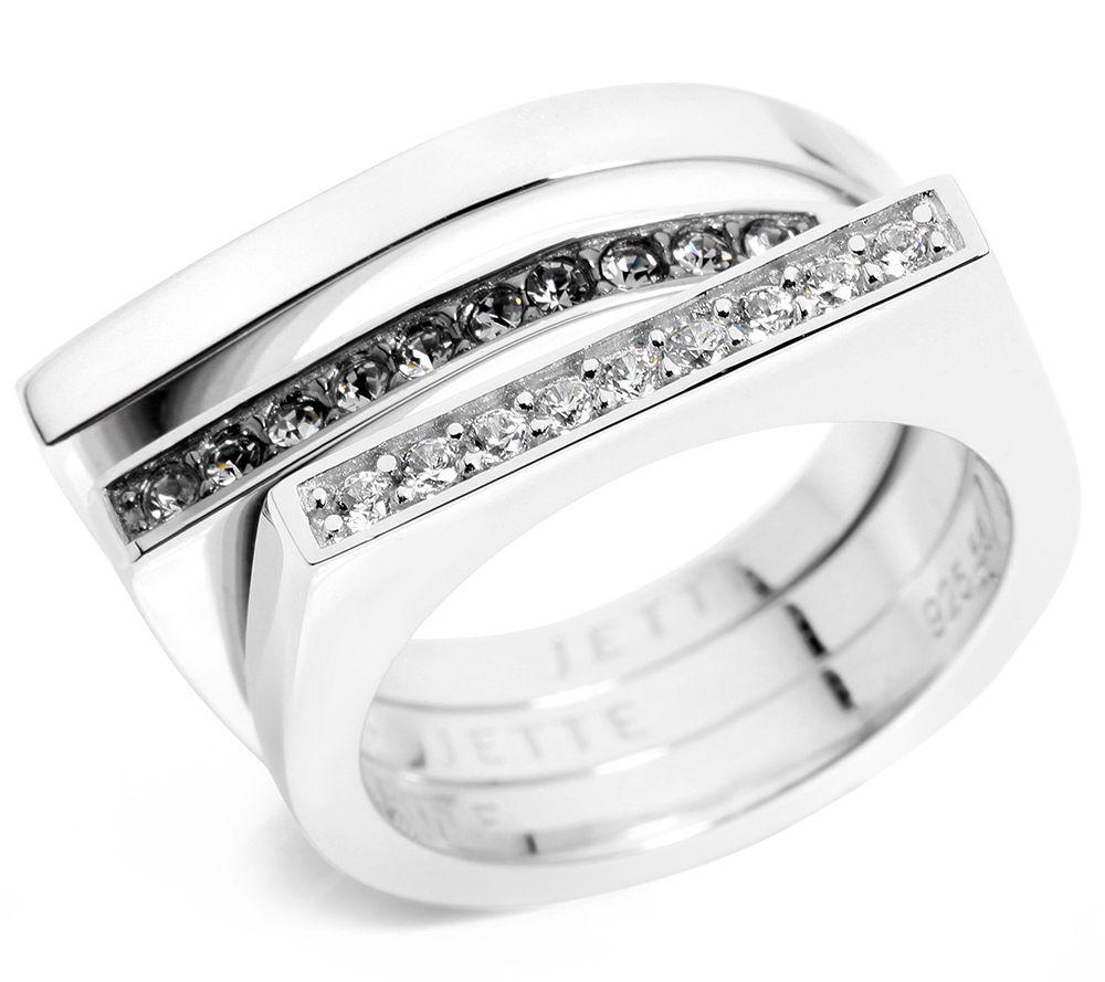 JETTE Designerschmuck Ring Zrikonia Kristalle Silber