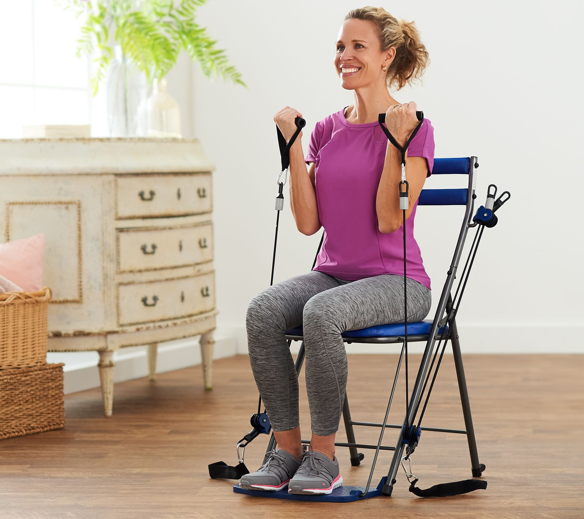 chair gym exercise system with twister seat inexpensive living room chairs workout 3 levels of resistance and 5 dvds page 1 qvc com