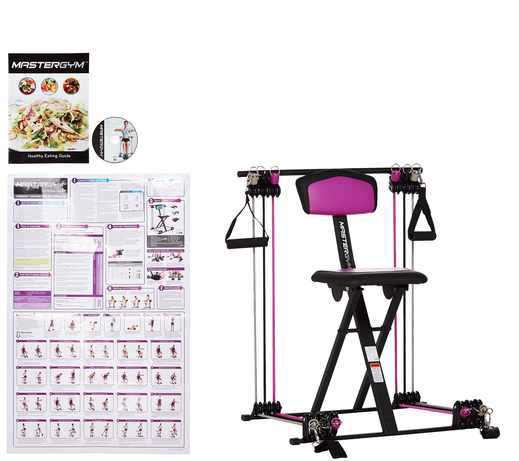 chair gym parts toddler adirondack plastic as is master compact fitness with dvd wall chart qvc com