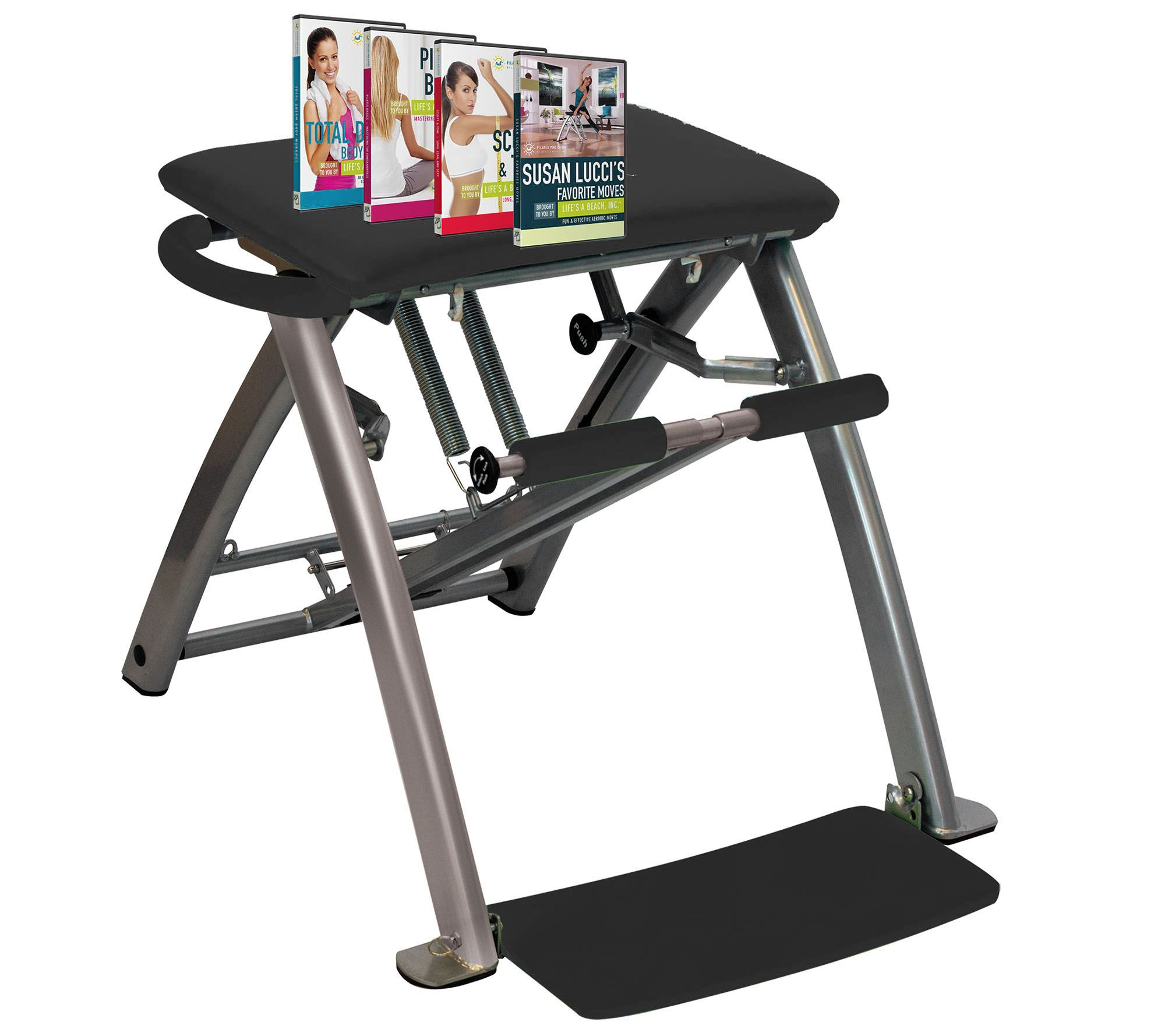 pilates chair for sale ergonomic guidelines pro with 4 dvds by life s a beach page 1 qvc com