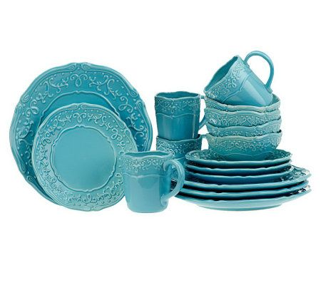 Temp Tations Vintage Grace 16 Piece Stoneware Dinnerware