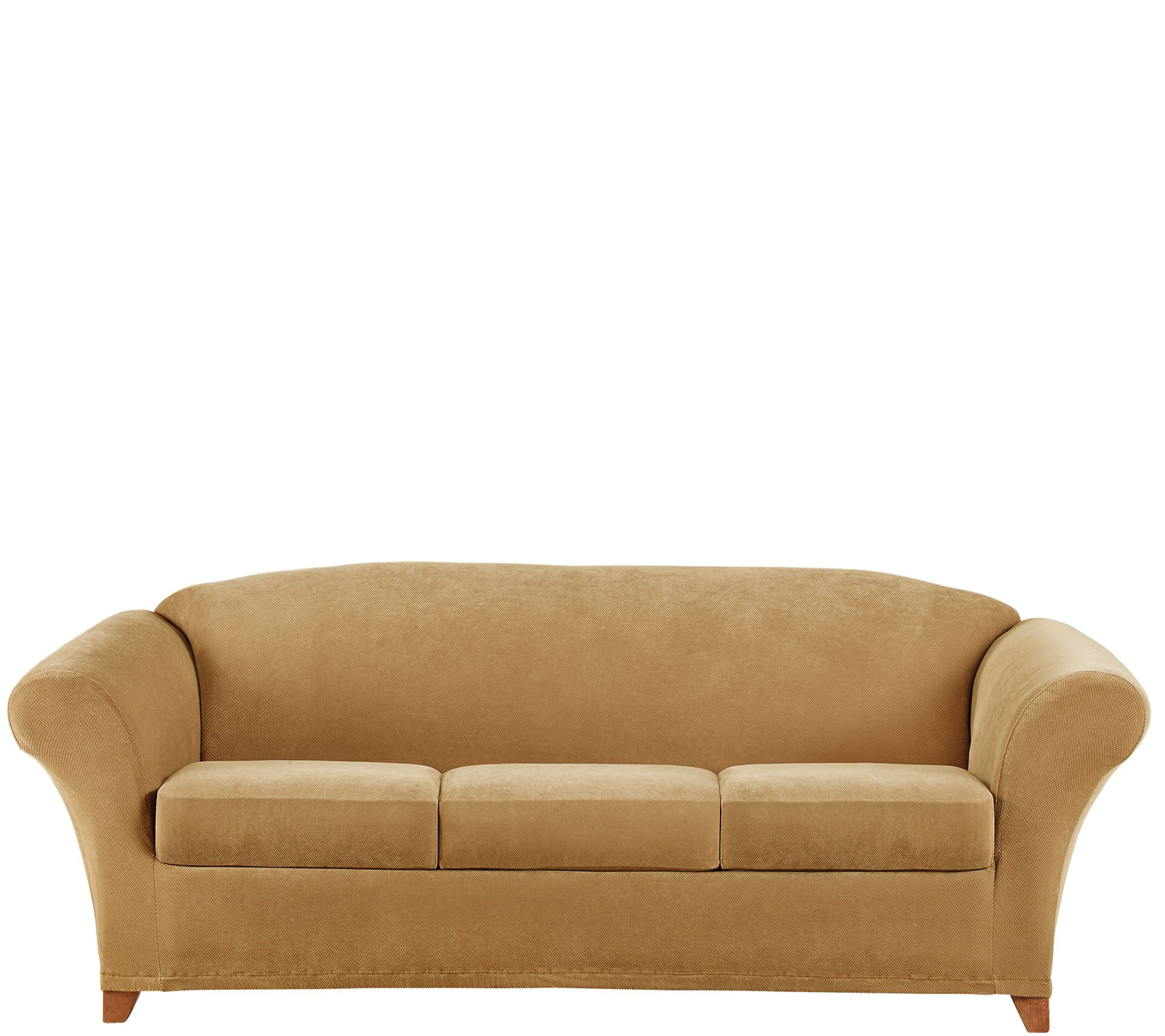 stretch slipcovers for sofas cheap mini sofa bed singapore sure fit pique 3 seat slipcover  qvc