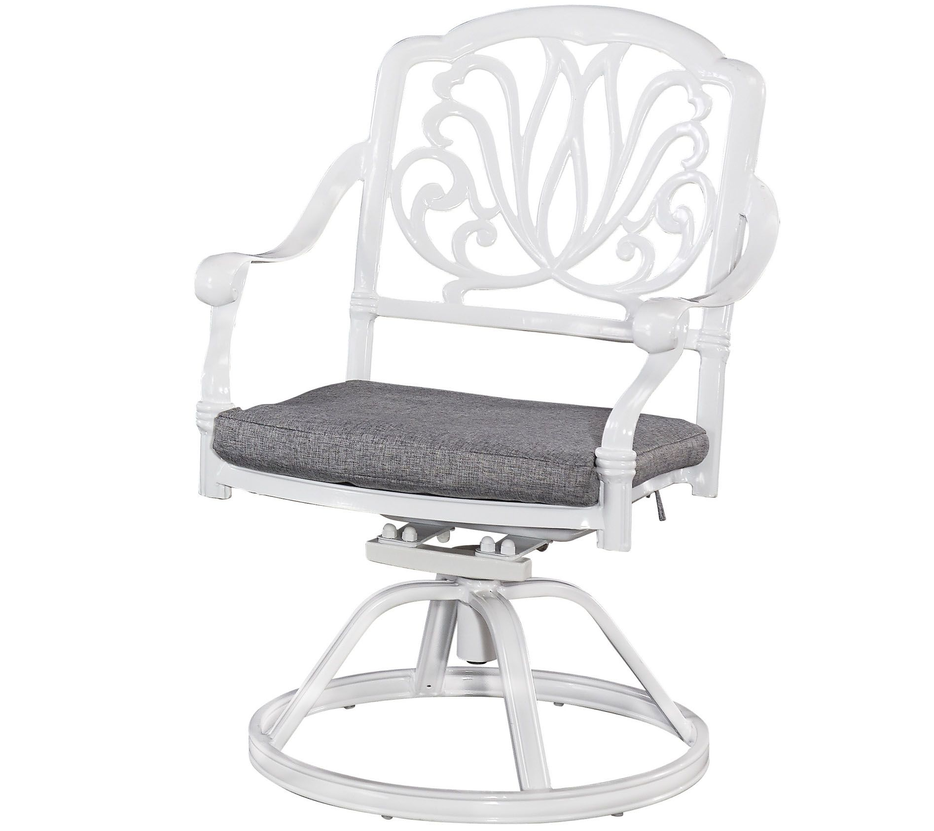 swivel chair exercise race gaming floral blossom white with cushion  qvc