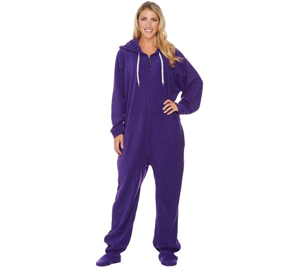 Lazy -piece Fleece Footed Adult Pajamas With Pockets