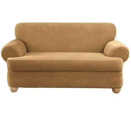 stretch 3 piece t cushion sofa slipcover small chesterfield sure fit pique 3-piece t-cushion ...