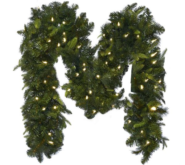 Bethlehem Lights 9' Mixed Greens Prelit Holiday Garland