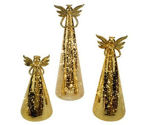 Set Of 3 Lit Mercury Glass Angels With Timer By Valerie Page 1