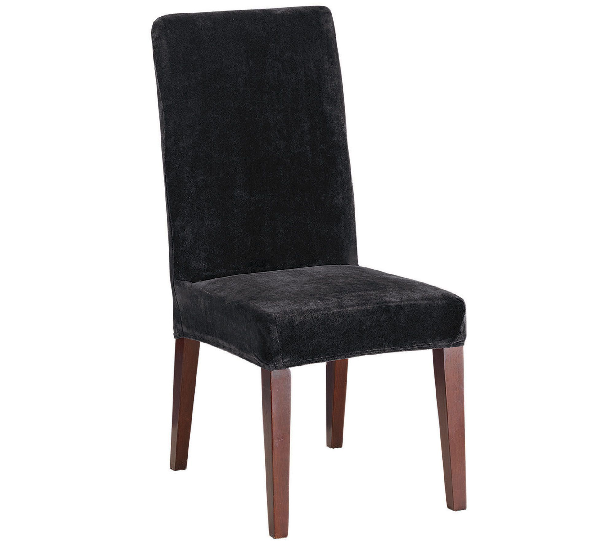 dining chair covers bed bath and beyond melissa doug wooden table chairs sure fit stretch plush short slipcover  qvc