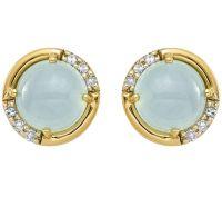 14K Blue Chalcedony and Diamond Accent Earrings  QVC.com