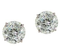 Diamonique 2.50 ct tw 100-Facet Stud Earrings,1 4K Gold ...