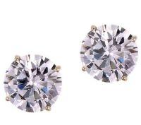 Diamonique 3.00 ct tw 100-Facet Stud Earrings,1 4K Gold ...