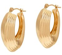 """""""As Is"""" 14K Gold Ribbed Polished Oval Hoop Earrings - Page ..."""
