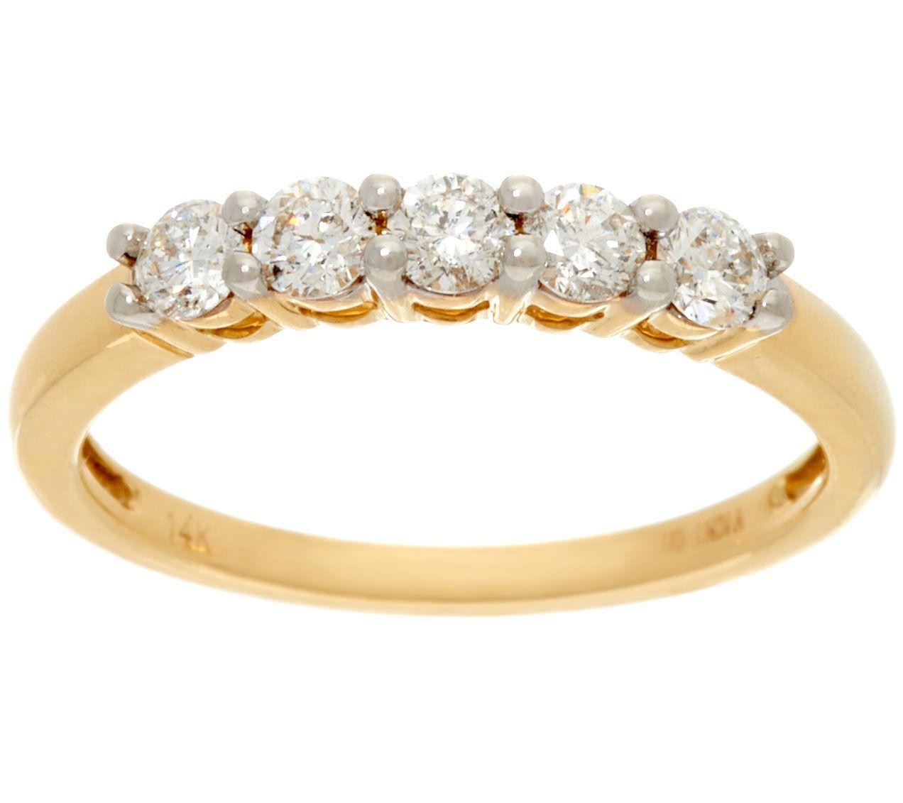 12 Cttw 5 Stone Diamond Band Ring 14K Gold Affinity