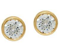 """""""As Is"""" Diamonique 2.00 cttw Bezel Set Stud Earrings, 14K ..."""