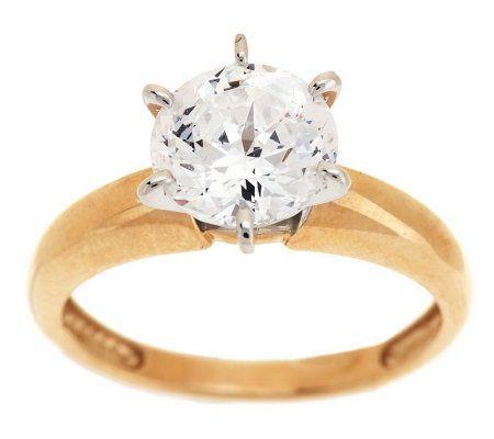 Diamonique 100 Facet 2 Ct Solitaire Ring 14K Gold