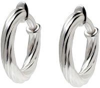 "UltraFine Silver 1"" Twisted Clip-On Hoop Earrings  QVC.com"