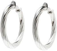 """UltraFine Silver 1-1/2"""" Twisted Clip-On Hoop Earrings ..."""