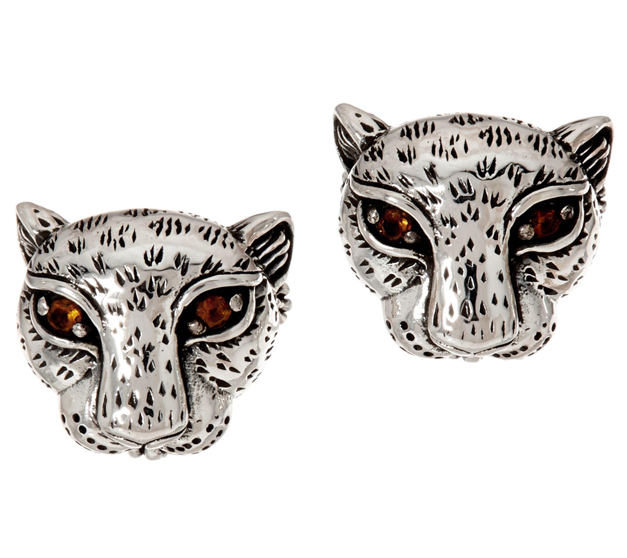 JAI Sterling Silver Leopard Stud Earrings