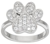 Diamonique 4/10 cttw, Paw Print Ring, Sterling - J321654 ...