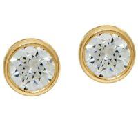 Diamonique 3.00cttw Bezel Set Stud Earrings, 14K Gold ...
