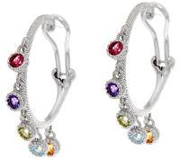 Judith Ripka Sterling 1.00 cttw Gemstone Hoop Earrings ...