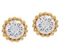 Diamonique Bead Design Stud Earrings, Sterling or 14K Clad ...