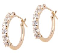 Diamonique Petite Polished Hoop Earrings, 14K Gold - Page ...
